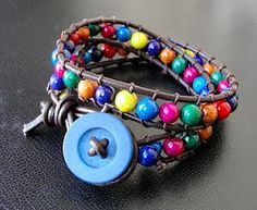 Beaded leather wrap bracelet, I can make this!