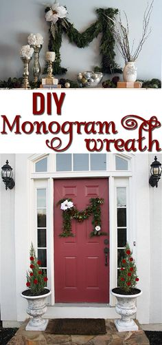 Make your own letter wreath for the holidays! DIY Monogram Wreath by @kellym2