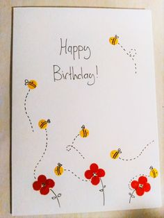 Last minute card, because at I remebered I hadn't done one yet Made with coloured paper, a hole punch, a fine liner, glue and a card blank I think I need to learn how to use guide lines for text. Colored Paper, Hole Punch, Blank Cards, Diy And Crafts, Doodles, Happy Birthday, Journal, Thoughts, Learning