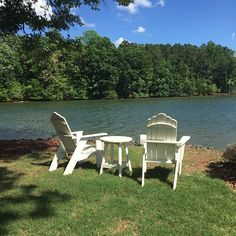 Take home this pair of Adirondack chairs by Uwharrie Chair today!  Hand-crafted in NC, these are perfect by poolside, lakeside or any spot in your backyard and are in stock now. #mainandgray #mainandgrayhome #interiordesign #fortmill #charlotte #uwharriechair