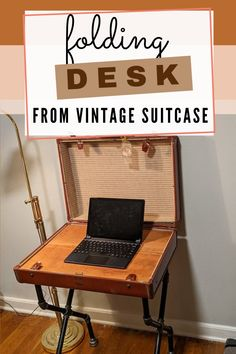We LOVE a repurpose project. This vintage suite case turned into a desk is very cool. The pipe legs and wood insert add to the industrial style.