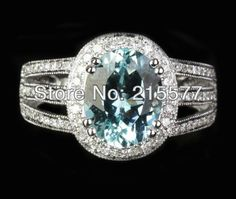 Oval 8x10mm Aquamarine .35ct Diamond 14K White gold Halo Engagement Ring 3.88g on Aliexpress.com | Alibaba Group