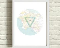 $20.00 Los Angeles Map and Triangle Art Print 8x10