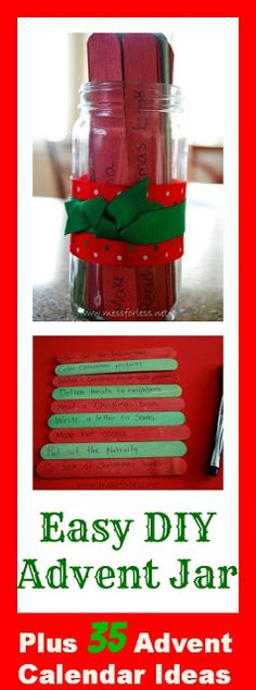Easy DIY AdventJar - or pretty jar for a multitude of uses: http://www.birthdaypartygameslady.com/blog/easy-diy-advent-jar/2012/11/30