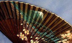 Mount Fiji Cherry Blossoms 1970 Vintage Japan Black Folding OLD Hand SILK Fan #Unbranded #FoldingHandHeldFan #AllOccasions