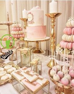 18 Ideas for birthday table decorations sweet 16 Birthday Party Snacks, Gold Birthday Party, Sweet 16 Birthday, 16th Birthday, Cake Birthday, Dessert Table Birthday, Birthday Ideas, Pink Dessert Tables, Pink Desserts