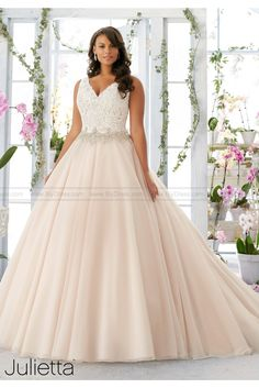 39ef3fd4750 Shop Morilee s Morilee Bridal Embroidered Lace Bodice Edged with Beading on  Tulle Plus Size Wedding Dress. Embroidered Lace Bodice Edged with Beading  onto ...