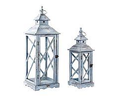 Set di 2 lanterne in metallo Lara - max 25x74x25 cm