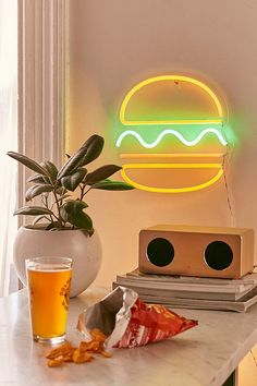 Slide View: 1: Hamburger Neon Sign