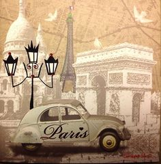 Paris Car Illustration for Decoupage: Decoupage Vintage, Decoupage Paper, Vintage Paper, Vintage Labels, Vintage Postcards, Vintage Images, Illustration Parisienne, Car Illustration, Paris Kunst