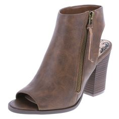 """Paired perfectly with skinny jeans or a casual dress, the Rascall Bootie features an embossed upper, peep-toe design with ankle cut out, side zip, 3 1/2"""" block heel, and a sturdy outsole. Manmade materials."""