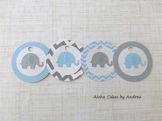Chevron Party Tags, Elephant Birthday Party Favor, Blue and Gray Baby Shower Favors, Baby Boy Elephant Gift Tag, Set of 12 on Etsy, $6.75