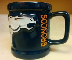 #Denver #Broncos Sculpted 3D Horse Logo Coffee Mug NFL Football 1999 blue #DenverBroncos