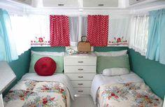 Vintage red and aqua floral caravan The Vintage Caravan Style Book