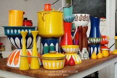 1960's Kitchen cookware....Love the Colors.  That is what the 60's was all about.