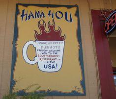 Hana Hou Cafe in Naalehu, Big Island, HI.  Awesome food and warm, friendly staff.  True Aloha.