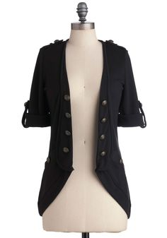 Keep It in Line Cardigan - Black, Solid, Buttons, Casual, 3/4 Sleeve, Military, Epaulets, Pockets, Mid-length