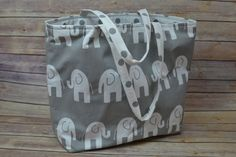 Baby Bag, BIG Grey and White Elephant march! / Waterproof canvas / Nappy Sack made in USA  By Darby Mack /  Large Tote weekender, in stock