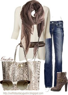 """brown scarf"" by stacy-gustin on Polyvore"