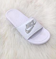 3523d8b84f7c Swarovski Nike Benassi JDI Slides Sandals customized with Rose Gold  Swarovski Crystals.