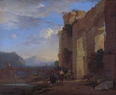 Italian Landscape with the Ruins of a Roman Bridge and Aqueduct by Jan Asselijn. Circa 1650.