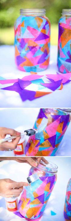 lanterne extérieur en bocal décoré de triangles en tissu multicolores