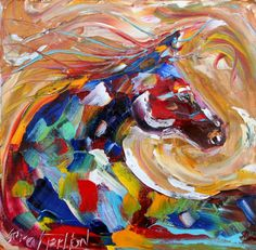 Original painting Modern EQUINE ABSTRACT HORSE by Karensfineart