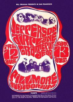 August 12 & 1966 Concert Poster: Jefferson Airplane & Grateful Dead at Fillmore Auditorium, San Francisco, artists: Wes Wilson & Herb Greene Grateful Dead, Rock Posters, Music Posters, Art Posters, Event Posters, Jimi Hendrix, Woodstock, Wes Wilson, Beatles