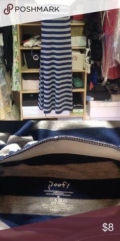 Cute Striped Maxi Dress Navy/grey striped maxi dress. Slim fit, no slits.60% cotton, 35% rayon, 5% spandex Poof! Dresses Maxi