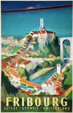 Original vintage poster: Freiburg Switzerland for sale at posterteam.com by Jordan, Willi (1902-1971)