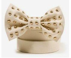 Cream studded bow belt