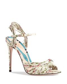 Gucci Women's Leather Knotted High-heel Sandals In White Pink High Heel Boots, High Heel Pumps, Heeled Boots, Stiletto Heels, Shoe Boots, Pretty Shoes, Beautiful Shoes, Cute Shoes, Me Too Shoes