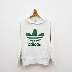 Vintage ADIDAS Sportswear Big Logo White Hoodies Sweater