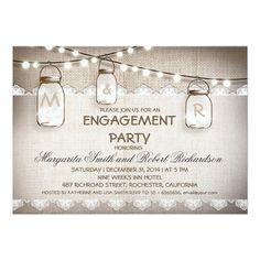 "burlap and mason jars engagement party invitations 5"" x 7"" invitation card"