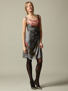 PRINTED SILK DRAPED PANEL DRESS