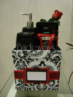 Black white and red bathroom on pinterest damasks for Red and black bathroom accessories