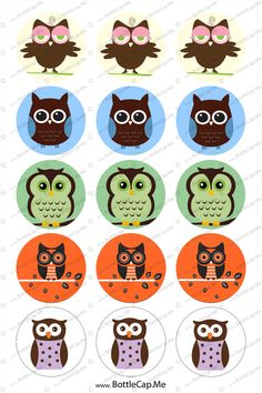"""OWLS colors 1"""" 4x6 bottle cap images - 1 inch rounds graphics for ..."""