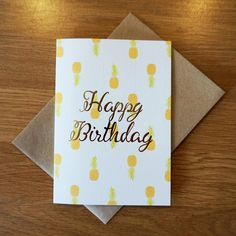 Pineapples foil embossed birthday card by helloodonnell on Etsy