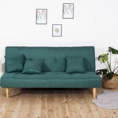 Sofa tapicerowana rozkładana zielona Lectus
