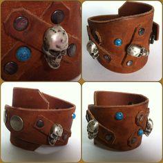 Leder armband met skulls van EdithEnDat op Etsy