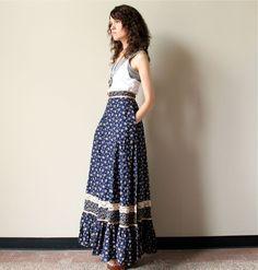 70s Gunne Sax Maxi Skirt, vintage boho hippie Jessica's Gunnies cotton calico ditsy floral print, navy, white & tan, high waist, ruffled hem. $85.00, via Etsy.