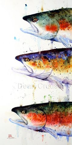 Items similar to TROUT Watercolor Print by Dean Crouser on Etsy Watercolor Fish, Watercolor Sketch, Watercolor Paintings, Watercolor Paper, Watercolors, Fish Paintings, Bass Fishing Pictures, Art Texture, Art Fantaisiste