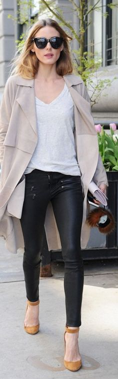 Who made  Olivia Palermo's black leather pants, key chain, and velvet ankle pumps?
