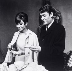 Audrey and Peter O'Toole have a coffee break during the shooting of 'How To Steal a Million', 1966.