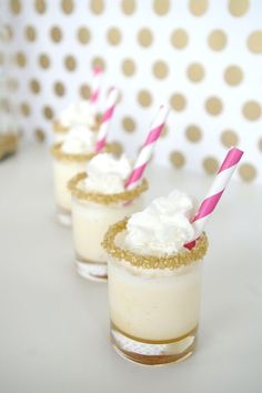 Pudding Dessert Shots - Striped straws make these Salted Caramel and Ice Cream Cake Shots even more mouth-watering! #wedding #dessert #pudding #shots #shooters