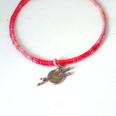 Fuschia Pink Upcycled Recycled Bangle for Knitters by Pookledo, £5.00