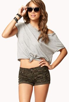 Distressed Denim Camo Shorts | FOREVER21 - 2072237553