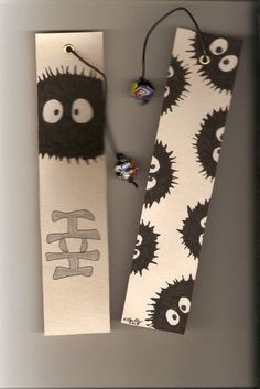 Soot Sprite Bookmarks by on deviantART Bookmarks For Books, Creative Bookmarks, Cute Bookmarks, Bookmark Craft, Origami Bookmark, Diy Marque Page, Marque Page Origami, Anime Crafts, Diy And Crafts