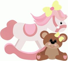 Silhouette Design Store: Rocking Horse With Teddy Bear Baby Clip Art, Baby Art, Baby Shower Clipart, Teddy Bear Design, Felt Animal Patterns, Silhouette Online Store, Bear Theme, Dibujos Cute, Cute Clipart