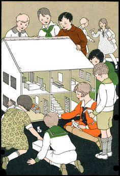 Early Reader Dollhouse Illustration